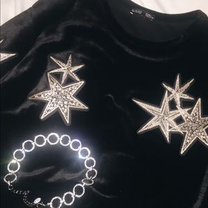 Zara black velvet star crop top